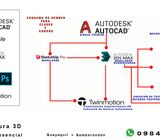 3D Arquitectura clases zoom ,autocad ,sketchup , 3ds max , tiwinmotion