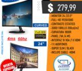 Monitor Samsung Curvo 24 Pulgadas C24f390fh Full-hd 1920x1080 Hdmi Vga Slim Black